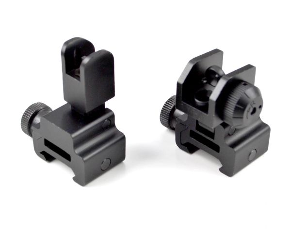 BACKUP Sight Set - Flip Up High Profile Front Sight Post + Rear Sight - Aluminum - Black [SET]