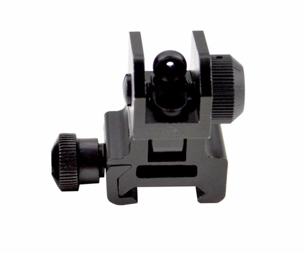 AR Polymer Rear Flip-Up Backup Sight for Picatinny Rail - Aluminum - Black