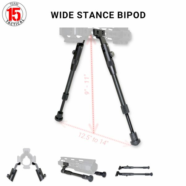 Wide Stance Bipod for KEY-MOD Rail, Height Adjustable 9-11 inches, Aluminum with Rubberized Feet