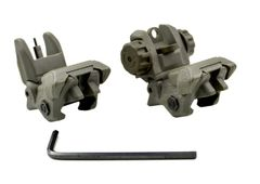 AR style Front And Rear Flip Up Iron Sight Combo Set - Polymer - Green