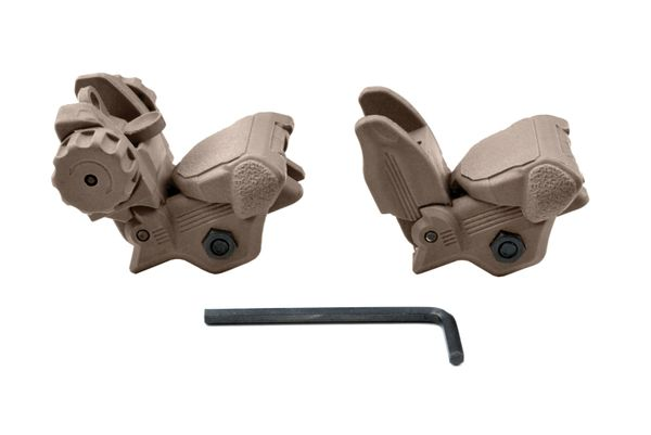 AR Front And Rear Flip Up Backup Sight Combo Set - Polymer - Tan