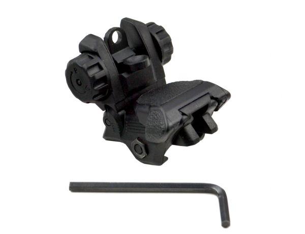 Rear Flip Up AR A2 Backup Sight for Picatinny Rail - Polymer - Black