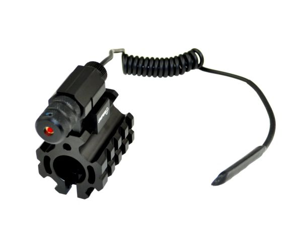 Low Profile 0.750 INCH Dia Gas Block Quad Rail with Pin and Red Laser with Remote Pressure Switch for .223 AR15 - Aluminum - Black