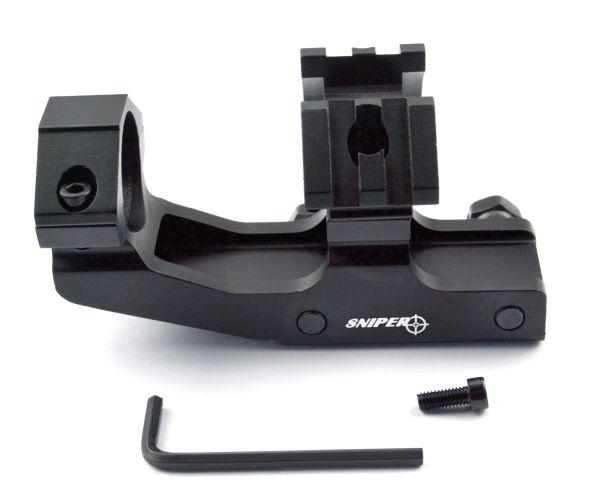 "1""Scope Mount Cantilever w/ Dual 45 Degree Rails for Laser or Tac Light - Aluminum - Black"