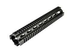 "12"" Rifle Length 12 INCH 2 Piece Drop-In Quad Rail Handguard Mount for AR15 .223 - For Round shaped Handguard End Cap - Aluminum - Black"