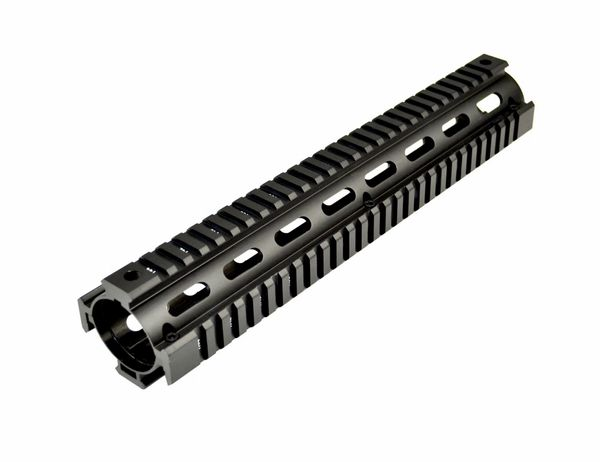 "12"" Rifle Length 12 INCH 2 Piece Drop-In Quad Rail Handguard Mount for AR15 .223 - For Round shaped Handguard End Cap - Aluminum - Black"