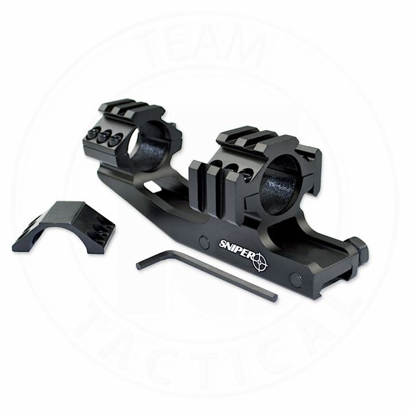 "1"" Cantilever Rifle Scope Mount w/ Tactical Tri Rail with 8 Picatinny Accessory Slots - Aluminum - Black"