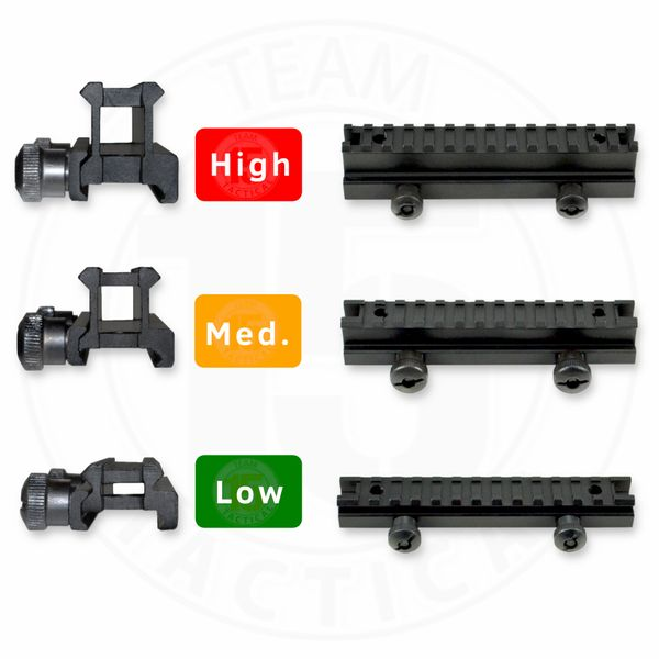 Riser Mounts for Picatinny Rail - AR-15 Upper Receiver / Handguard Top Rail - High / Medium or Low Profile, Aluminum