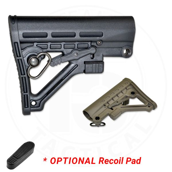 Mil Spec Carbine Adjustable Stock for AR-15 - BLACK or GREEN, Option to add Recoil Pad