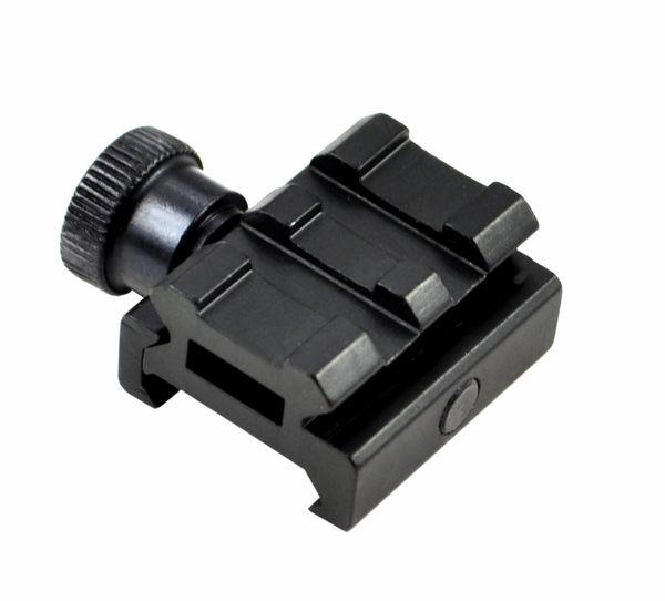 Low Profile Scope Riser Mount - 2 Picatinny Accessory Slots - Aluminum - Black