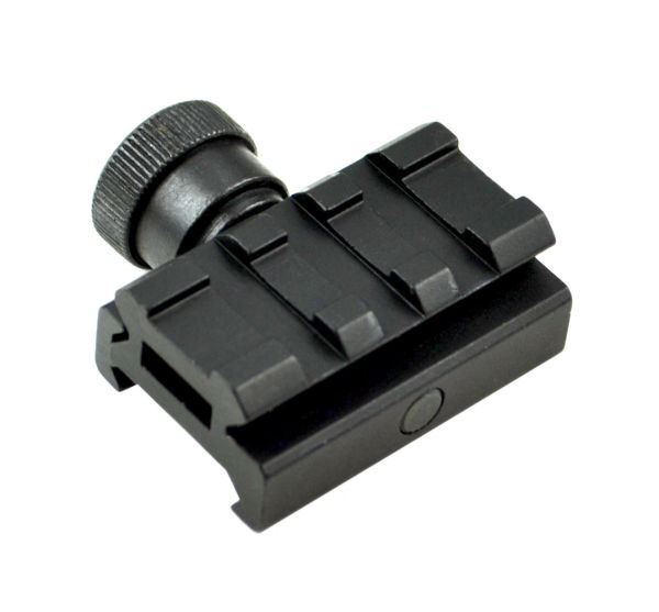 Low Profile Scope Riser Mount - 3 Picatinny Slots - Aluminum - Black