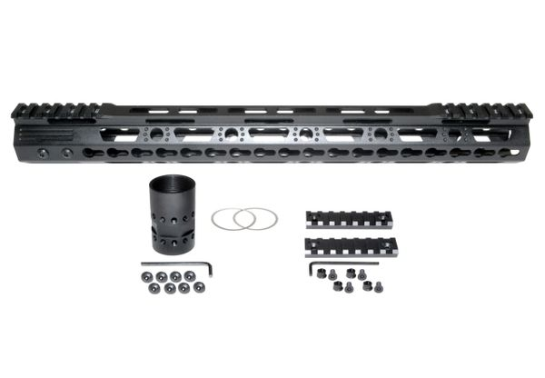 "16.5"" KeyMod Free Float Handguard for AR-15 .223 / 5.56, ID 1.37"", 12 oz"