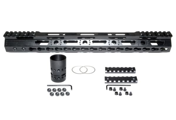 "15"" KeyMod Free Float Handguard for AR-15 .223 / 5.56, 1.37"" ID 11 oz"