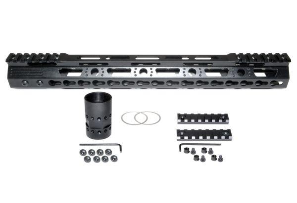 "15"" KeyMod Free Float Handguard for AR-15 .223 / 5.56, 1.37"" ID 11 oz"
