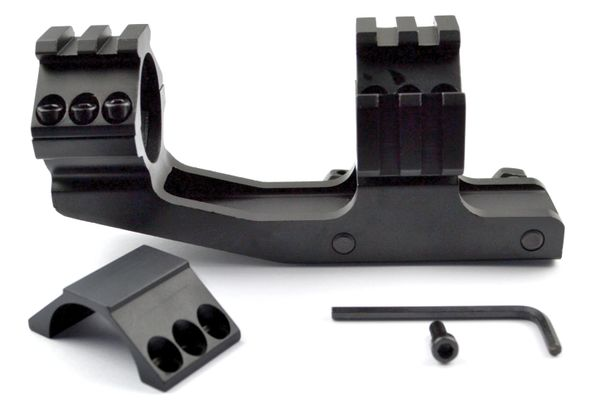 One Piece 30mm Dia. Cantilever Scope Mount For Picatinny Rail System - Aluminum - Black