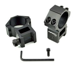 30mm Dia. High Profile Scope Rings for Picatinny Rail System - Aluminum - Black