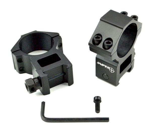 30mm Dia. High Profile Scope Rings for Picatinny Rail System - Aluminum - Black