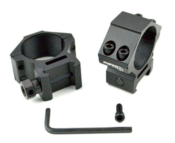 30mm Dia. Low Profile Scope Rings for Picatinny Rail System - Aluminum - Black
