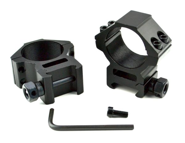 30mm Dia. Medium Profile Scope Rings for Picatinny Rail System - Aluminum - Black