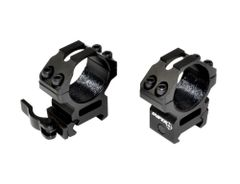 30mm High Profile Quick Release Scope Rings For Picatinny Rail System - Black