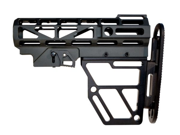 Presma Skeletonized Buttstock for Mil Spec Adjustable Tubes - Black Anodized Aluminum