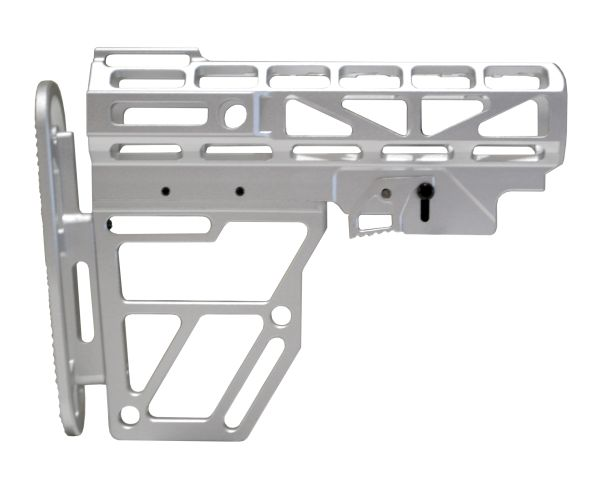 Presma Skeletonized Buttstock for Mil Spec Adjustable Tubes - Silver Anodized Aluminum
