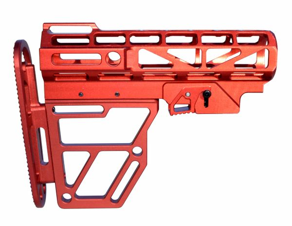 Presma Skeletonized Buttstock for Mil Spec Adjustable Tubes - Red Anodized Aluminum