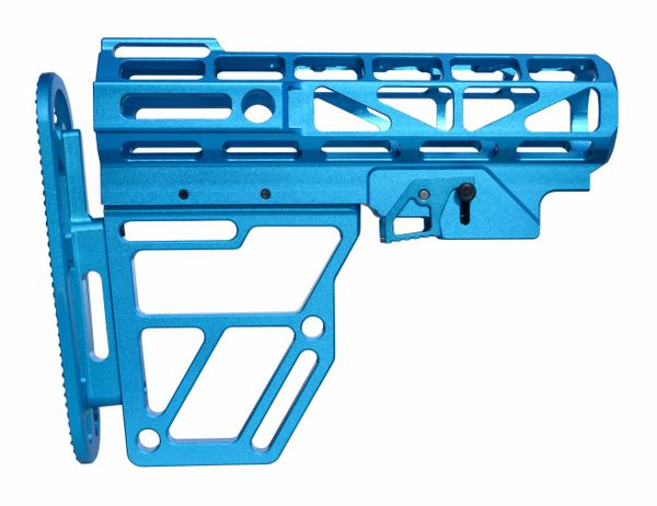 Presma Skeletonized Buttstock for Mil Spec Adjustable Tubes - Blue Anodized Aluminum