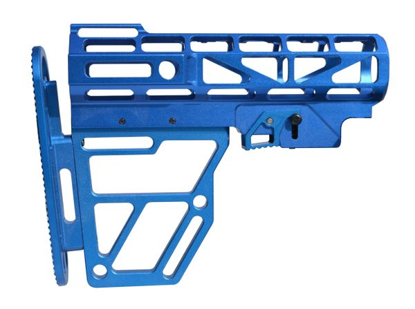 Presma Skeletonized Buttstock for Mil Spec Adjustable Tubes - Dk Blue Anodized Aluminum