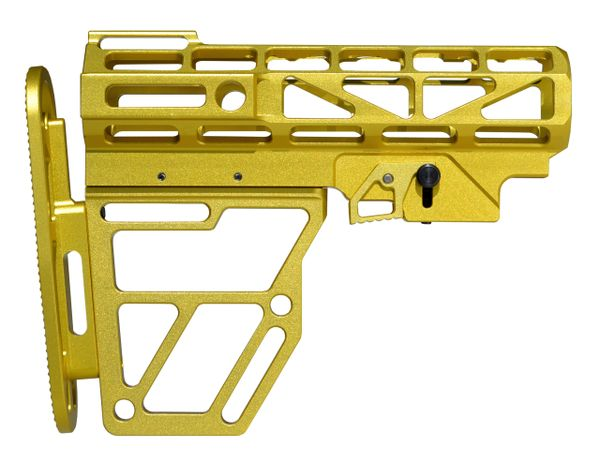 Presma Skeletonized Buttstock for Mil Spec Adjustable Tubes - Gold color Anodized Aluminum