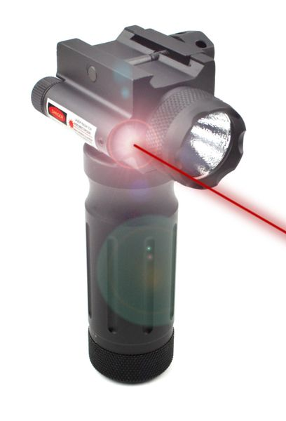 AR15 Foregrip Grip with Integrated Flashlight and Red Laser, 1 piece - Fixed Vertical, Aluminum - Black (GPRL01)