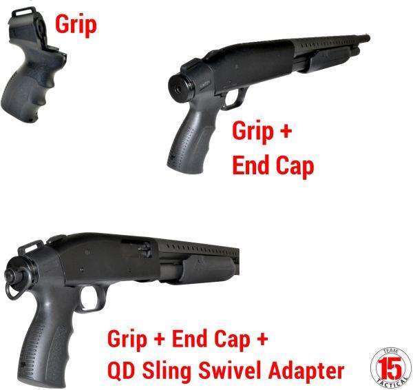 Rear Pistol Grip for Mossberg 500 Shotgun, Threaded for AR-15 Carbine Buffer Tube (not inc.)