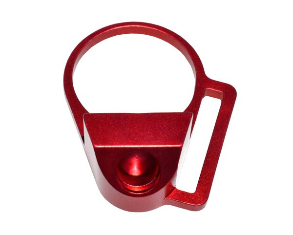"""Receiver End Plate with 45 degree hole for Sling Swivel Adapter Button, 1"""" Sling Adapter, Red"""