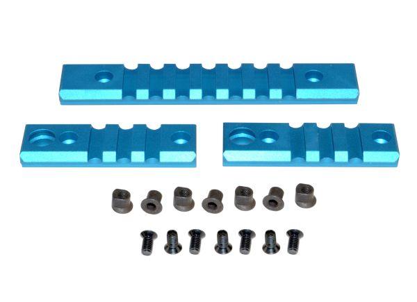 KeyMod to Picatinny Adapter BLUE Rail Section Kit, Aluminum, Includes 2 x 3 slot, 1 x 7 slot