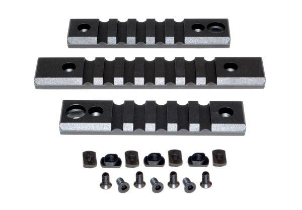 M-LOK to Picatinny Adapter Rail KIT (BLACK) for MLOK Handguard Rails - 2 x 5 slot, 1 x 7 slot
