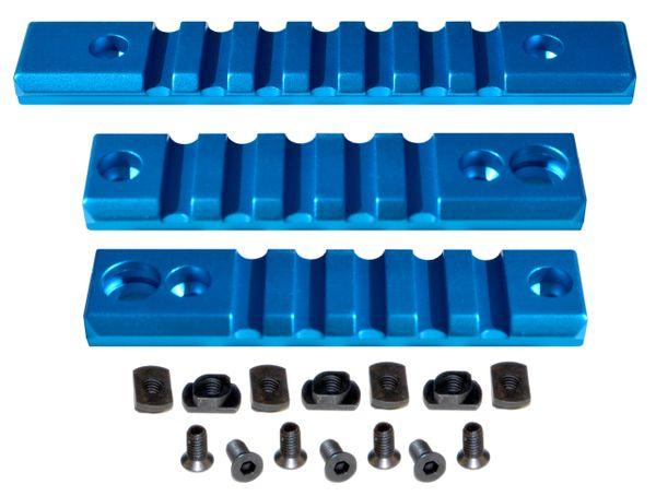 M-LOK to Picatinny Adapter Rail KIT (BLUE) for MLOK Handguard Rails - 2 x 5 slot, 1 x 7 slot
