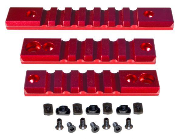 M-LOK to Picatinny Adapter Rail KIT (RED) for MLOK Handguard Rails - 2 x 5 slot, 1 x 7 slot