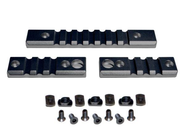 M-LOK to Picatinny Adapter Rail KIT (BLACK) for MLOK Handguard Rails - 2 x 3 slot, 1 x 7 slot