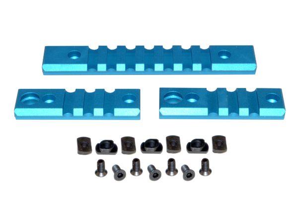 M-LOK to Picatinny Adapter Rail KIT (BLUE) for MLOK Handguard Rails - 2 x 3 slot, 1 x 7 slot
