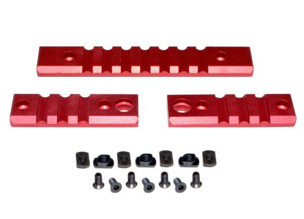 M-LOK to Picatinny Adapter Rail KIT (RED) for MLOK Handguard Rails - 2 x 3 slot, 1 x 7 slot
