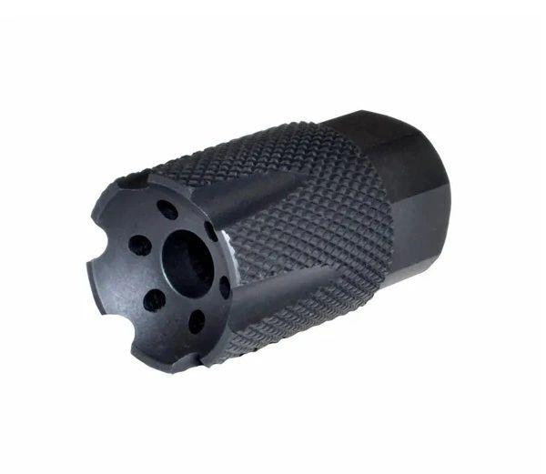 "1/2""x36 Short Muzzle Brake for 9mm, Aluminum, Black"