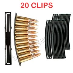 AK-47 SKS Steel Stripper Clips, 20 PACK, 10 rounds per clip, Magazine Loader