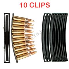 AK-47 SKS Steel Stripper Clips, 10 PACK, 10 rounds per clip, Magazine Loader