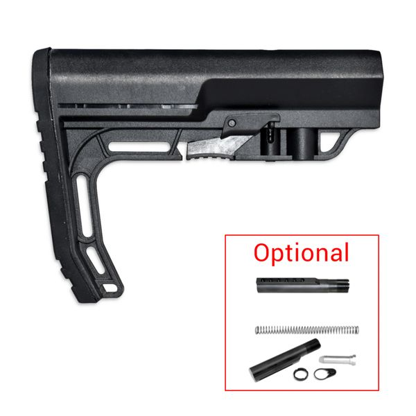 Mil-Spec Adjustable Buttstock w/ Integrated Polyrubber Buttpad, Option to Add Buffer Tube or Buffer Tube Kit