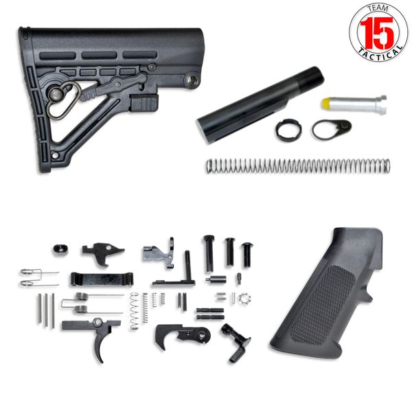 AR-15 Lower Build Kit - Lower Parts Kit [with FCG] plus Stock & Buffer Tube Kit