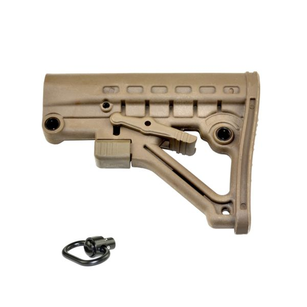 AR-15 Commercial Adjustable Buttstock with QD Sling Swivel Mount Adaptor - TAN