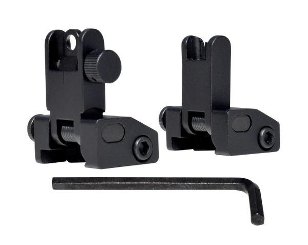 Backup Sight Set - Front Sight + Rear Sight - Flip-Up - Aluminum - Black [SET]