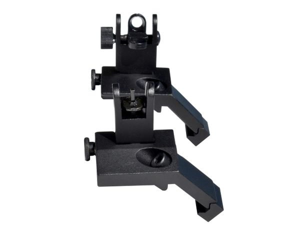 AR Front & Rear 45 Degree Offset Flip Up Backup Sight SET - Aluminum - Black