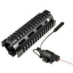 """6.7"""" MQRSL Carbine Length 2 Piece Drop In Handguard Quad Rail for AR15, .223 with Rail Mount Red Laser + Remote Pressure Switch"""