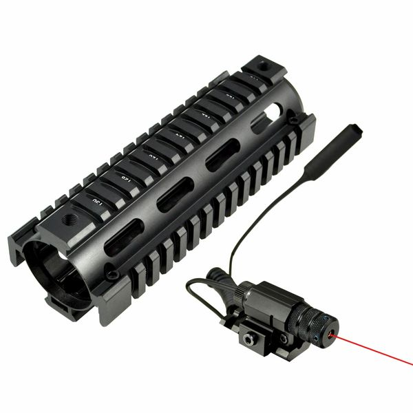 "6.7"" MQRSL Carbine Length 2 Piece Drop In Handguard Quad Rail for AR15, .223 with Rail Mount Red Laser + Remote Pressure Switch"